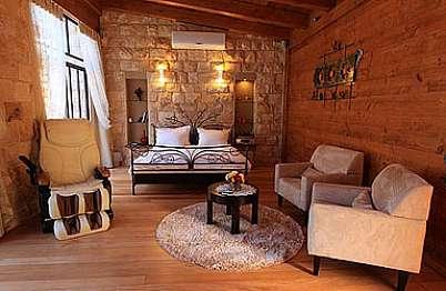 צימר in north area | Hamakom - Boutique Hotel in the Galilee - חלל גדול ומעוצב עם פרטי דקורציה של אומן המתכת ראובן גפני